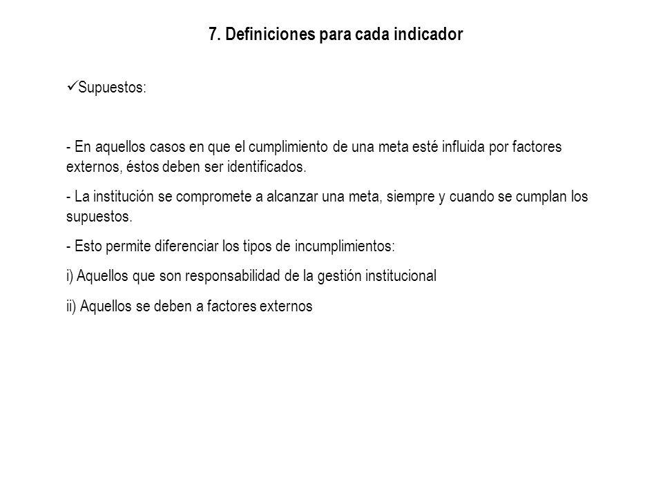 7. Definiciones para cada indicador Supuestos: - En aquellos casos en que el cumplimiento de una meta esté influida por factores externos, éstos deben