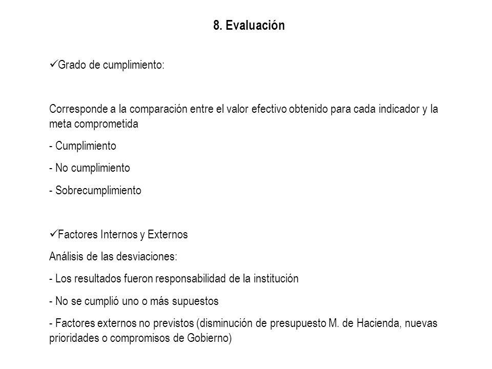 8. Evaluación Grado de cumplimiento: Corresponde a la comparación entre el valor efectivo obtenido para cada indicador y la meta comprometida - Cumpli