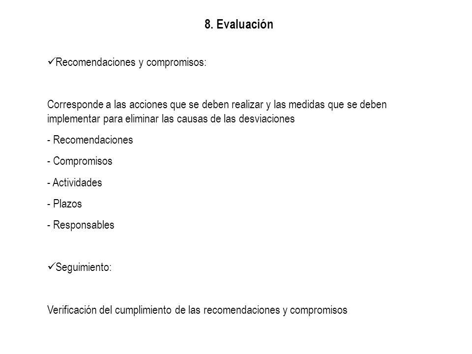 8. Evaluación Recomendaciones y compromisos: Corresponde a las acciones que se deben realizar y las medidas que se deben implementar para eliminar las