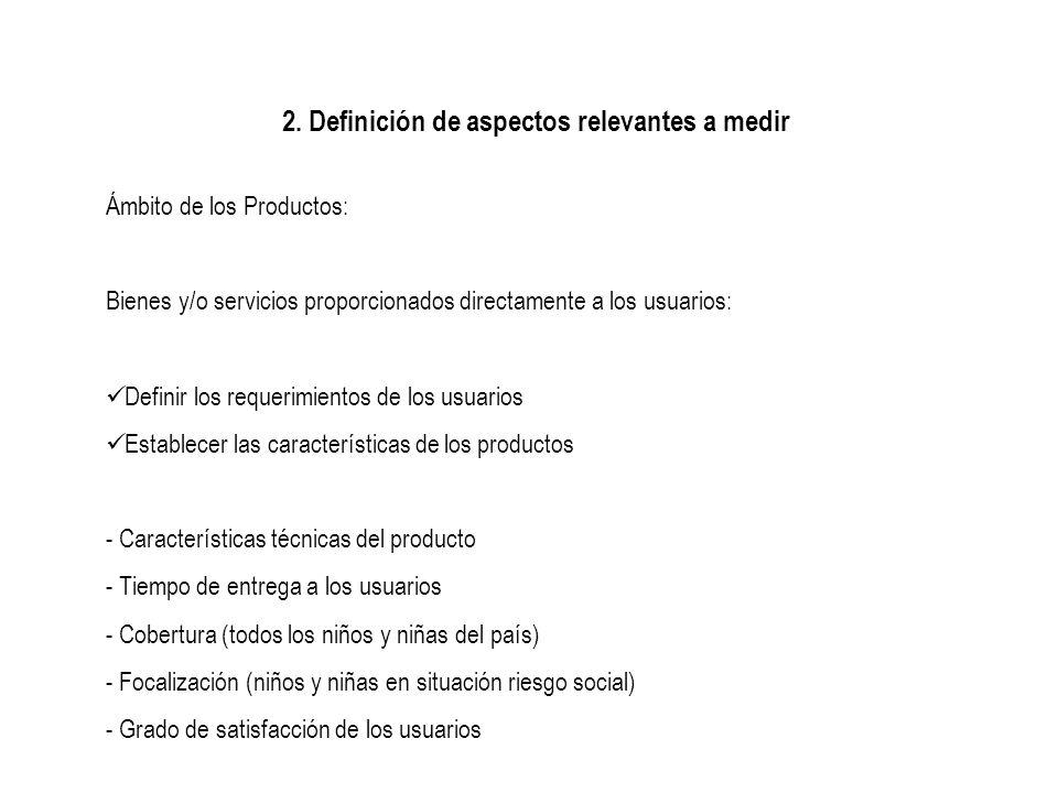 2. Definición de aspectos relevantes a medir Ámbito de los Productos: Bienes y/o servicios proporcionados directamente a los usuarios: Definir los req