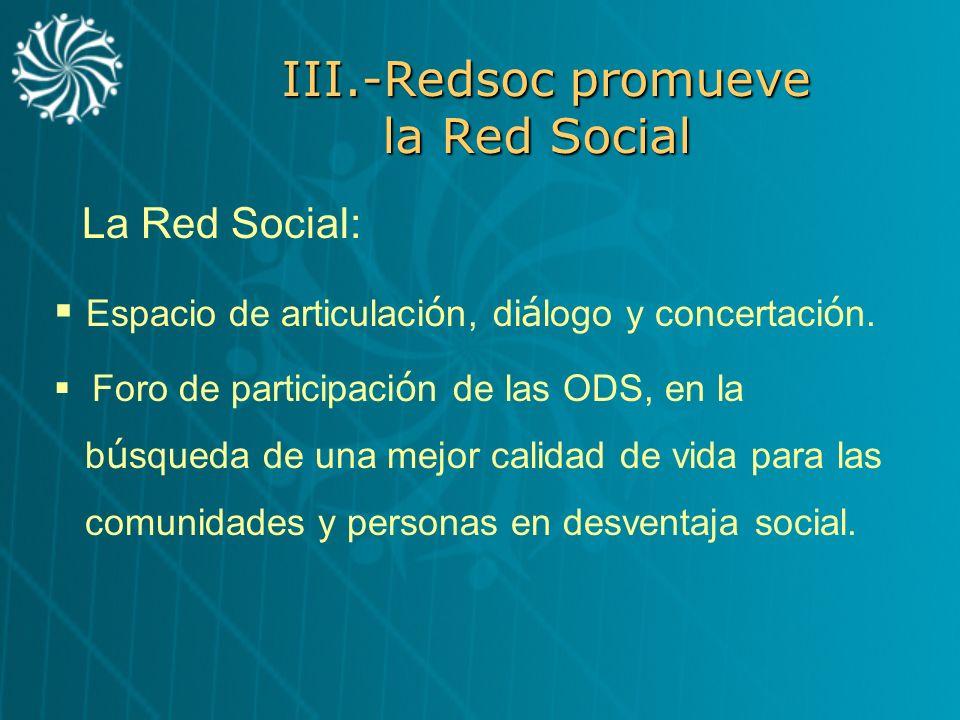 III.-Redsoc promueve la Red Social Espacio de articulaci ó n, di á logo y concertaci ó n. Foro de participaci ó n de las ODS, en la b ú squeda de una