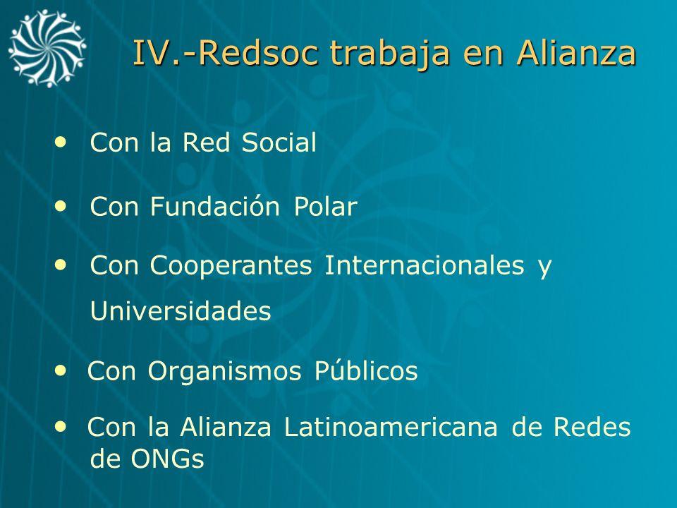 IV.-Redsoc trabaja en Alianza Con la Red Social Con Fundación Polar Con Cooperantes Internacionales y Universidades Con Organismos Públicos Con la Ali