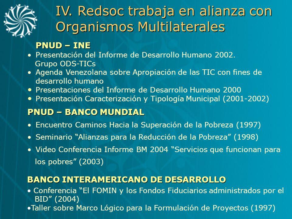 IV. Redsoc trabaja en alianza con Organismos Multilaterales PNUD – BANCO MUNDIAL Encuentro Caminos Hacia la Superación de la Pobreza (1997) Seminario