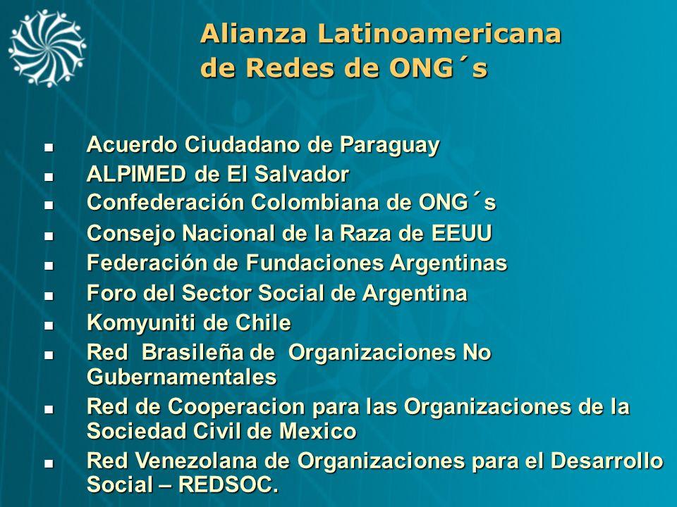 Alianza Latinoamericana de Redes de ONG´s Acuerdo Ciudadano de Paraguay Acuerdo Ciudadano de Paraguay ALPIMED de El Salvador ALPIMED de El Salvador Co