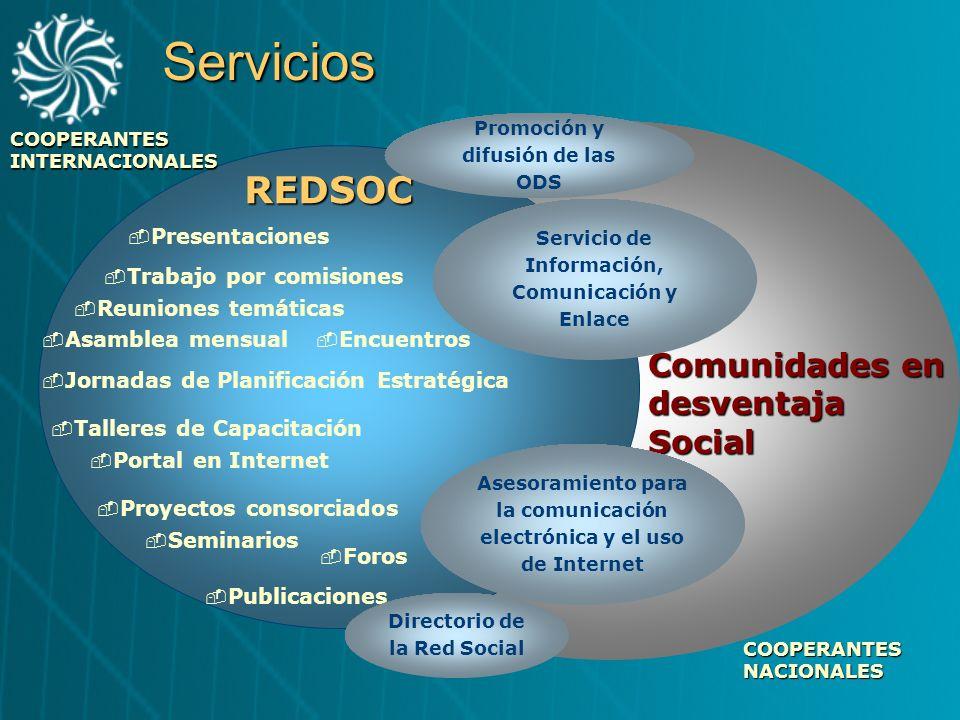 Comunidades en desventaja Social REDSOCServicios Talleres de Capacitación Publicaciones Seminarios Foros Encuentros Asamblea mensual Presentaciones Po