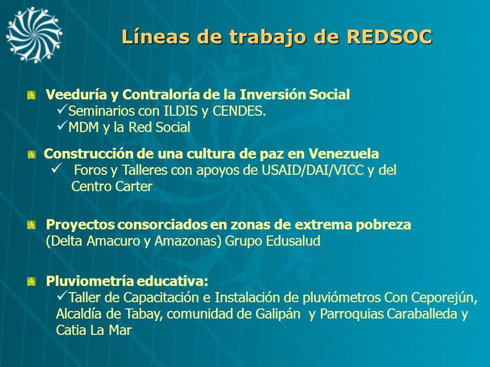 Líneas de trabajo de REDSOC Veeduría y Contraloría de la Inversión Social Seminarios con ILDIS y CENDES. MDM y la Red Social Construcción de una cultu