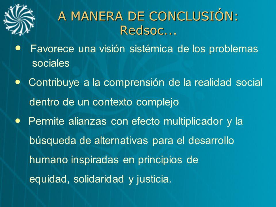 A MANERA DE CONCLUSIÓN: Redsoc... Favorece una visión sistémica de los problemas sociales Contribuye a la comprensión de la realidad social dentro de