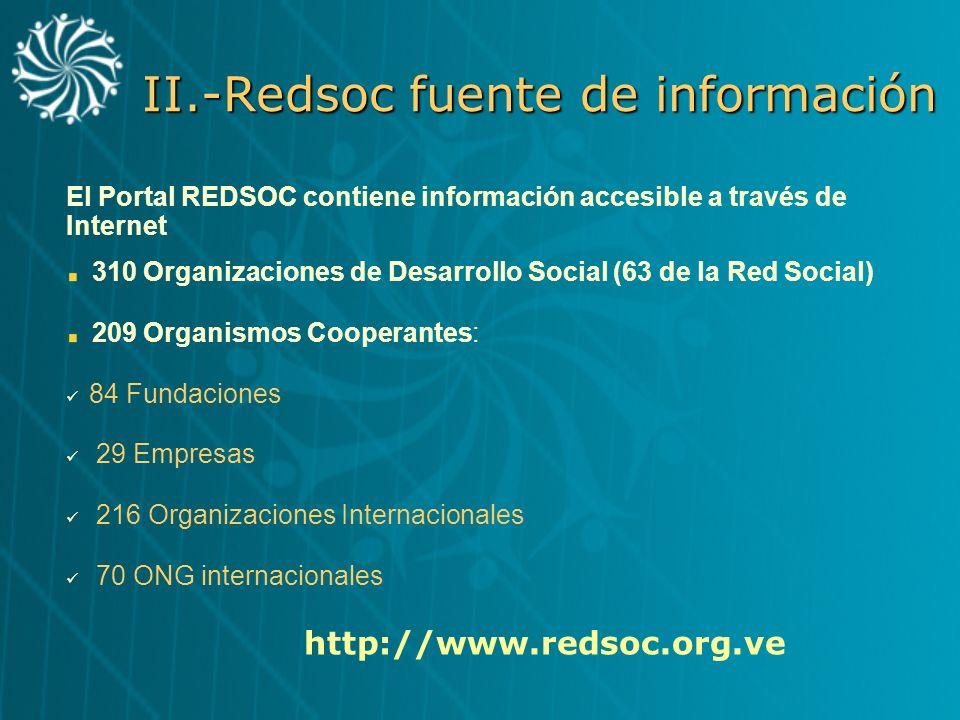 II.-Redsoc fuente de información El Portal REDSOC contiene información accesible a través de Internet 310 Organizaciones de Desarrollo Social (63 de l