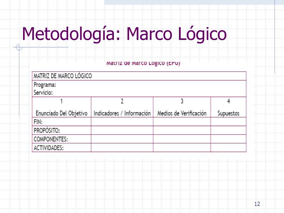 12 Metodología: Marco Lógico