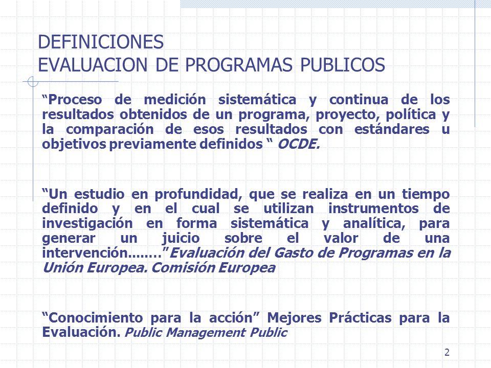 2 DEFINICIONES EVALUACION DE PROGRAMAS PUBLICOS Proceso de medición sistemática y continua de los resultados obtenidos de un programa, proyecto, polít