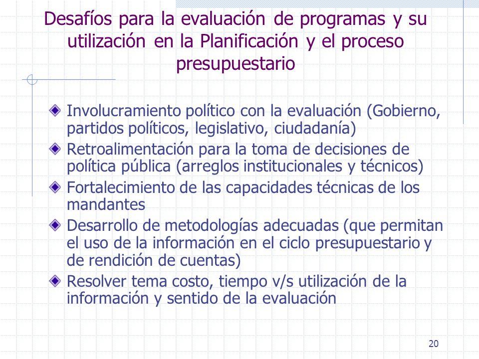20 Desafíos para la evaluación de programas y su utilización en la Planificación y el proceso presupuestario Involucramiento político con la evaluació