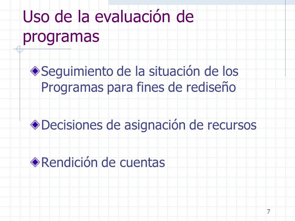 18 Principales debilidades de la Evaluación de Programas como instrumento de apoyo a la Planificación y Presupuesto Las evaluaciones realizadas tienen dificultades de ser parte de los insumos de procesos regulares de planificación y presupuesto Escasa institucionalización de las evaluaciones de impacto Se aplican evaluaciones de impacto en la mayoría de los programas sociales con financiamiento externo Con excepciones hay escasa evidencia de que los informes de evaluación de programas (sus resultados) sean utilizados en la toma de decisiones de políticas o programas públicos Las evaluaciones de programas operan principalmente como insumo a nivel micro, no contribuyen a la evaluación de políticas