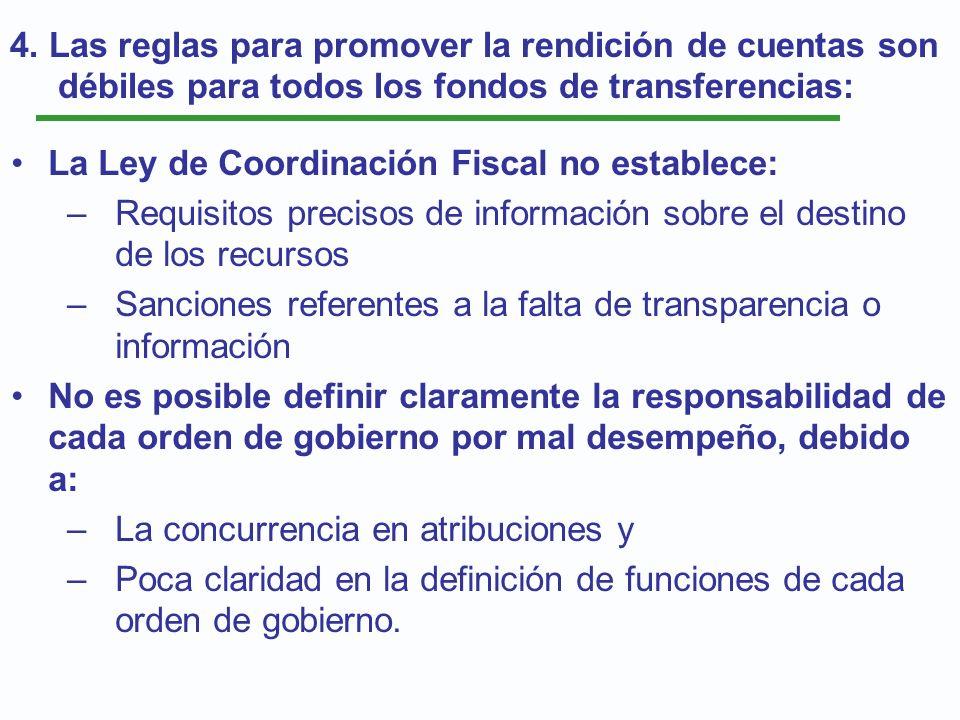 La Ley de Coordinación Fiscal no establece: –Requisitos precisos de información sobre el destino de los recursos –Sanciones referentes a la falta de t