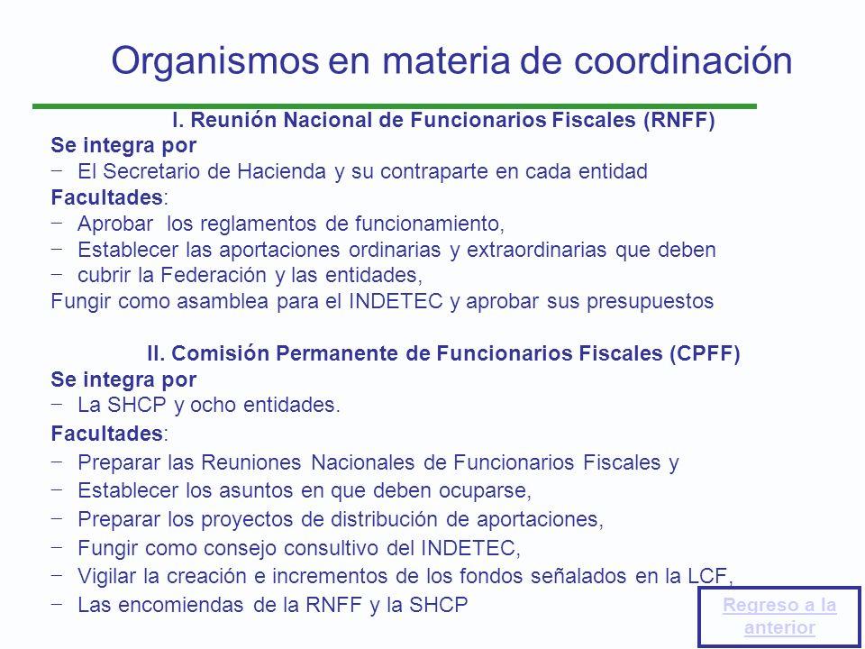 Organismos en materia de coordinación I. Reunión Nacional de Funcionarios Fiscales (RNFF) Se integra por El Secretario de Hacienda y su contraparte en
