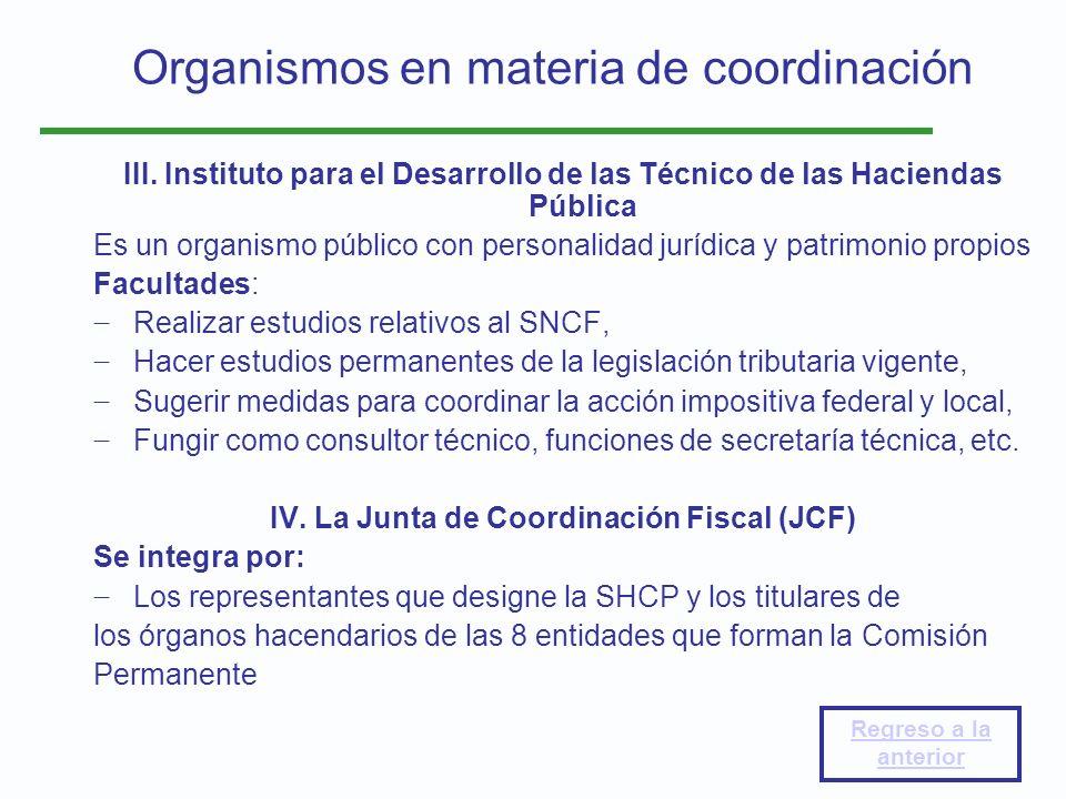 Organismos en materia de coordinación III. Instituto para el Desarrollo de las Técnico de las Haciendas Pública Es un organismo público con personalid