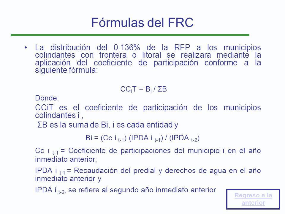 La distribución del 0.136% de la RFP a los municipios colindantes con frontera o litoral se realizara mediante la aplicación del coeficiente de partic