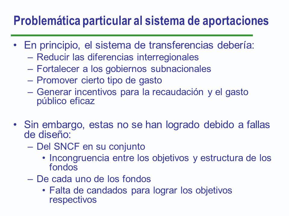 Problemática particular al sistema de aportaciones En principio, el sistema de transferencias debería: –Reducir las diferencias interregionales –Forta
