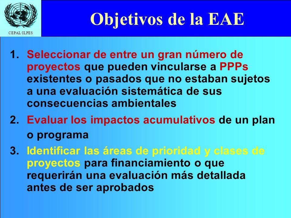 CEPAL/ILPES Click to edit Master title style Definición EAE Proceso de evaluación ambiental de políticas, planes y programas (PPP) aprobados ANTES de