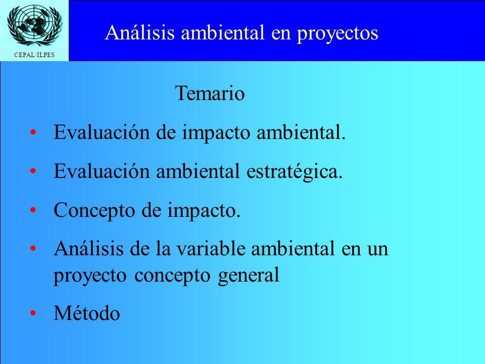 CEPAL/ILPES Click to edit Master title style Análisis ambiental de las alternativas de proyectos Juan Fco. Pacheco