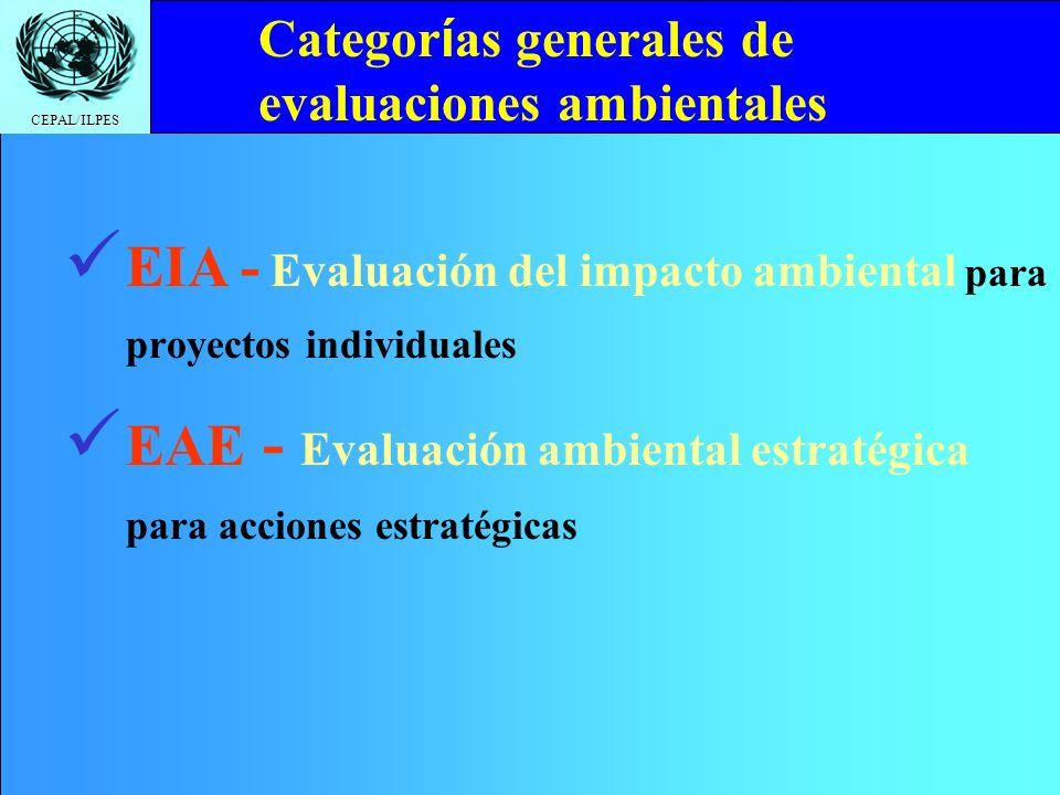 CEPAL/ILPES Click to edit Master title style Temario Evaluación de impacto ambiental. Evaluación ambiental estratégica. Concepto de impacto. Análisis