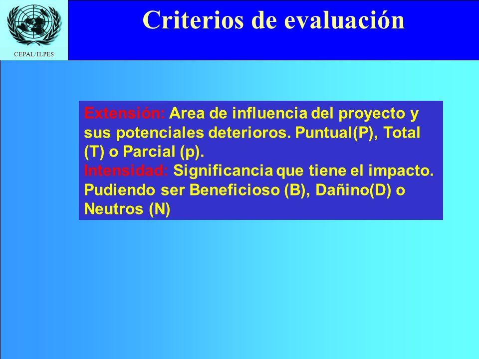 CEPAL/ILPES Click to edit Master title style Criterios de evaluación Horizonte: Tiempo que transcurrirá entre la acción y la manifestación del impacto
