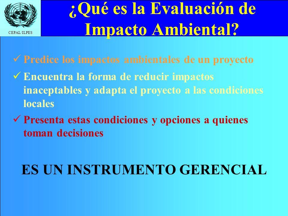 CEPAL/ILPES Click to edit Master title style EVALUACIÓN DE IMPACTO AMBIENTAL Análisis ambiental en proyectos