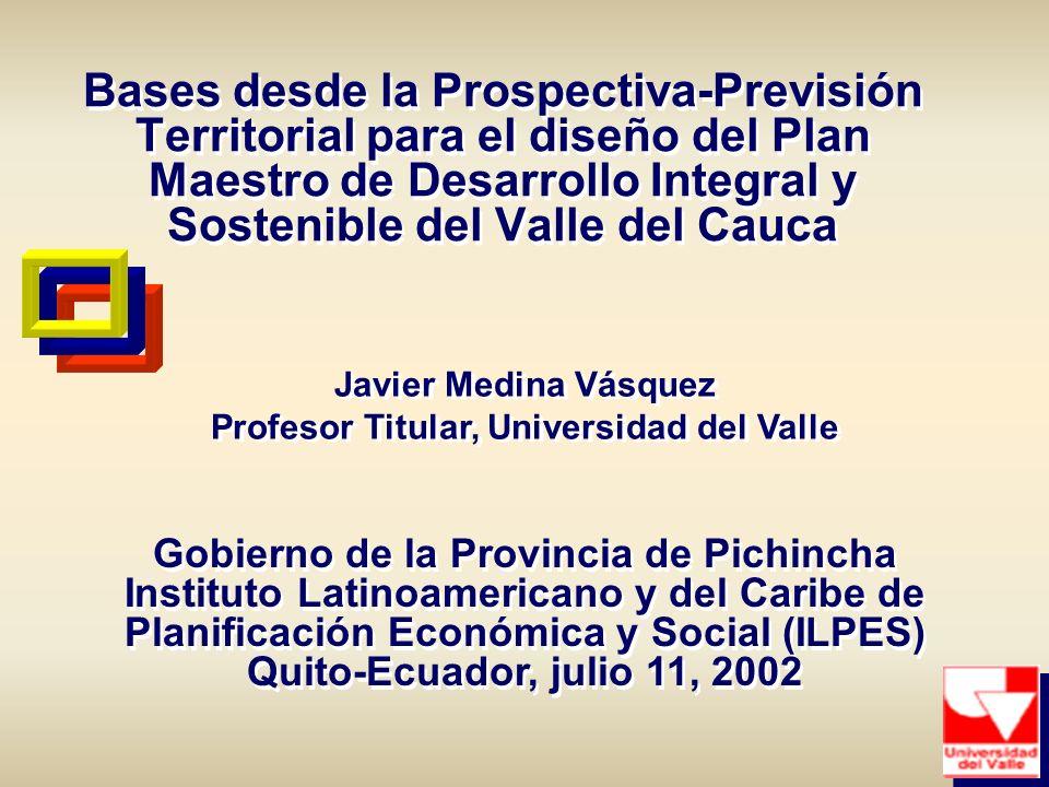 Bases desde la Prospectiva-Previsión Territorial para el diseño del Plan Maestro de Desarrollo Integral y Sostenible del Valle del Cauca Gobierno de l