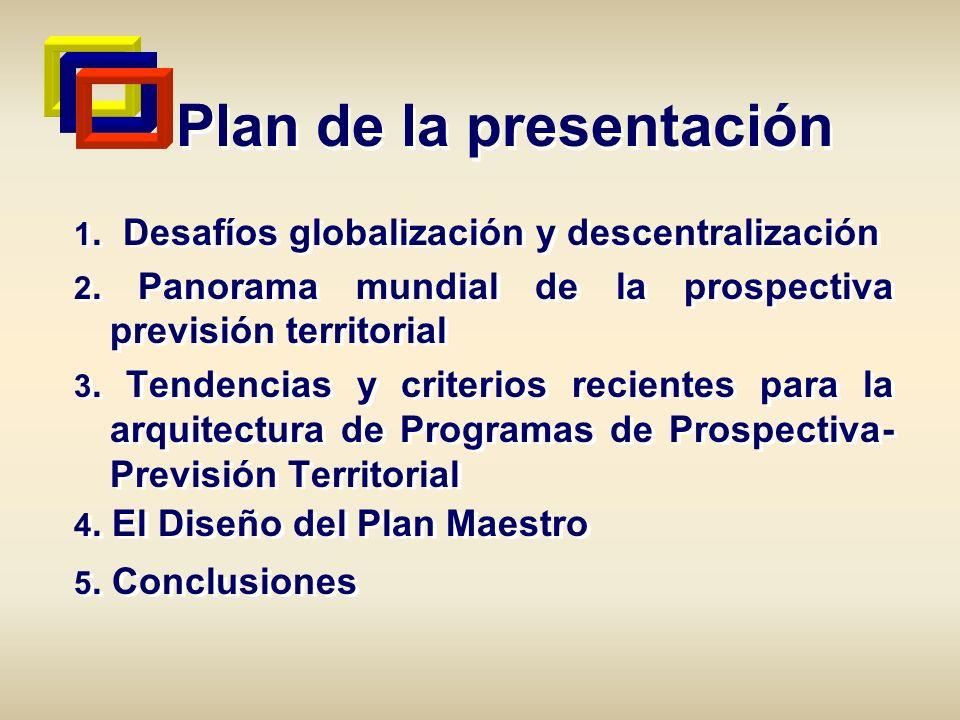 Plan de la presentación 1. Desafíos globalización y descentralización 2. Panorama mundial de la prospectiva previsión territorial 3. Tendencias y crit