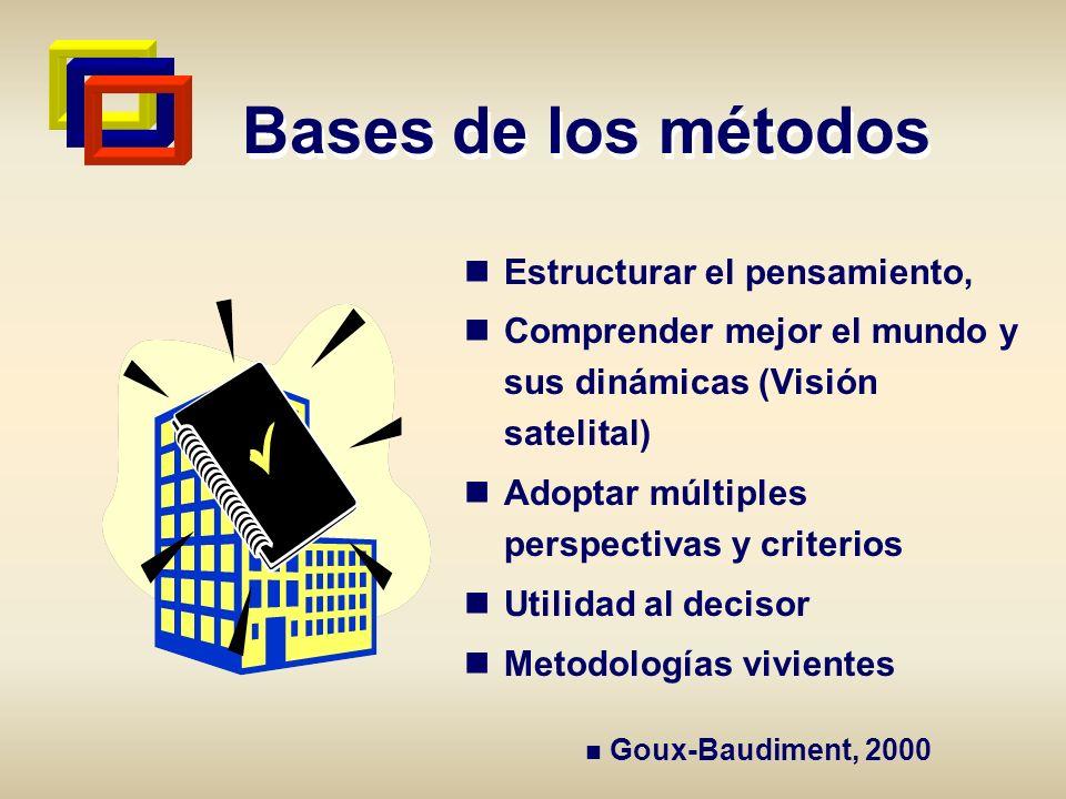 Bases de los métodos Estructurar el pensamiento, Comprender mejor el mundo y sus dinámicas (Visión satelital) Adoptar múltiples perspectivas y criteri