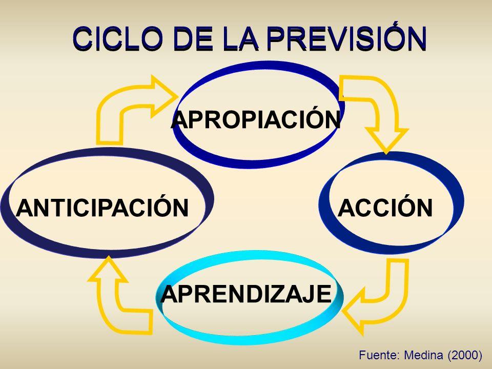 CICLO DE LA PREVISIÓN APROPIACIÓN ANTICIPACIÓN ACCIÓN APRENDIZAJE Fuente: Medina (2000)