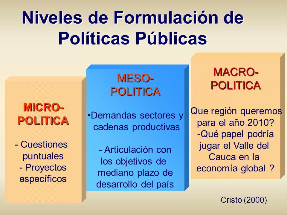 MACRO-POLITICA - Que región queremos para el año 2010? -Qué papel podría jugar el Valle del Cauca en la economía global ? MESO-POLITICA Demandas secto