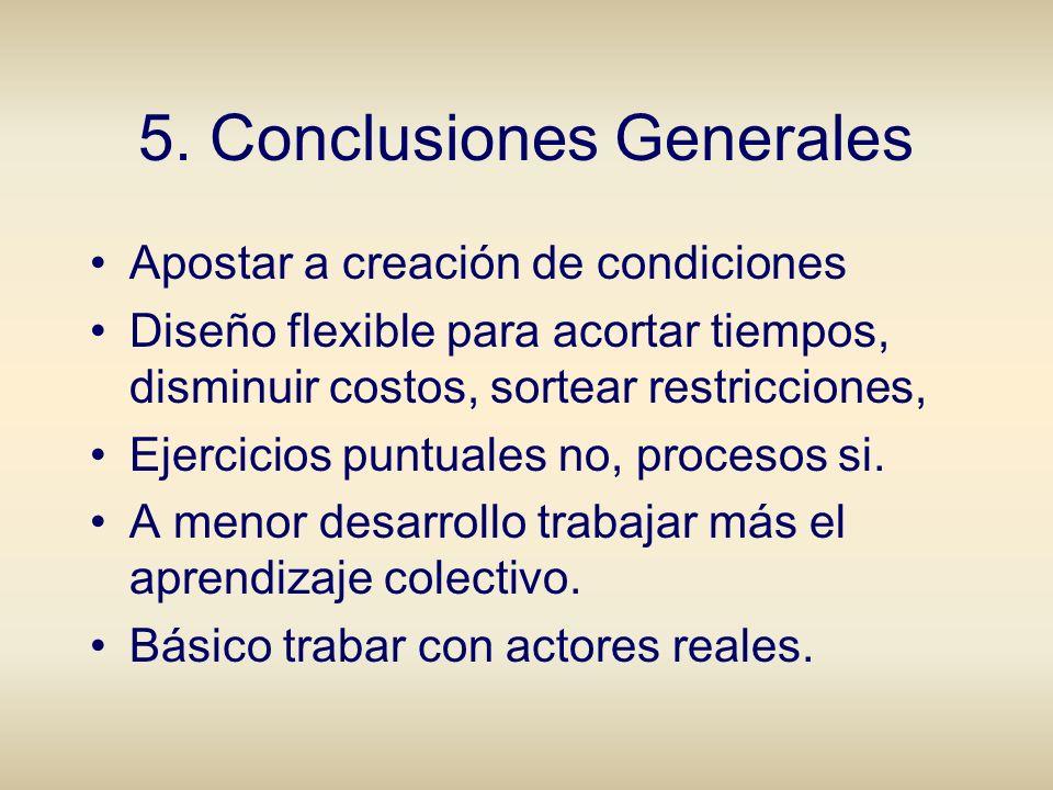 5. Conclusiones Generales Apostar a creación de condiciones Diseño flexible para acortar tiempos, disminuir costos, sortear restricciones, Ejercicios