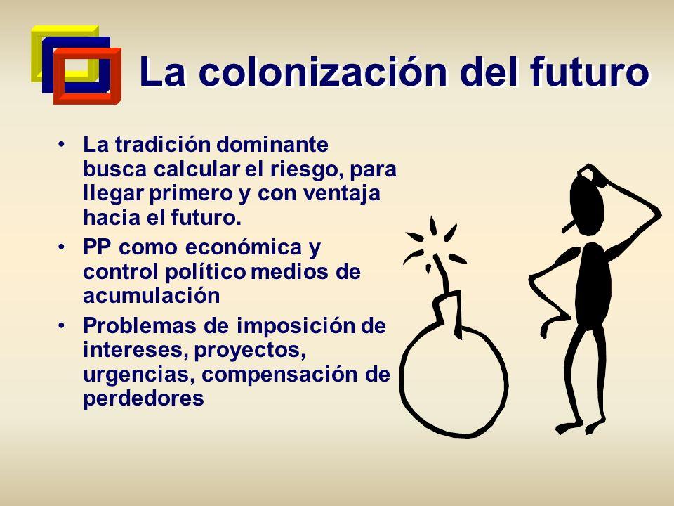 La colonización del futuro La tradición dominante busca calcular el riesgo, para llegar primero y con ventaja hacia el futuro. PP como económica y con