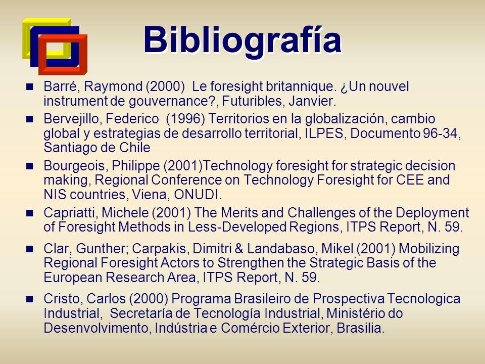 Bibliografía Barré, Raymond (2000) Le foresight britannique. ¿Un nouvel instrument de gouvernance?, Futuribles, Janvier. Bervejillo, Federico (1996) T