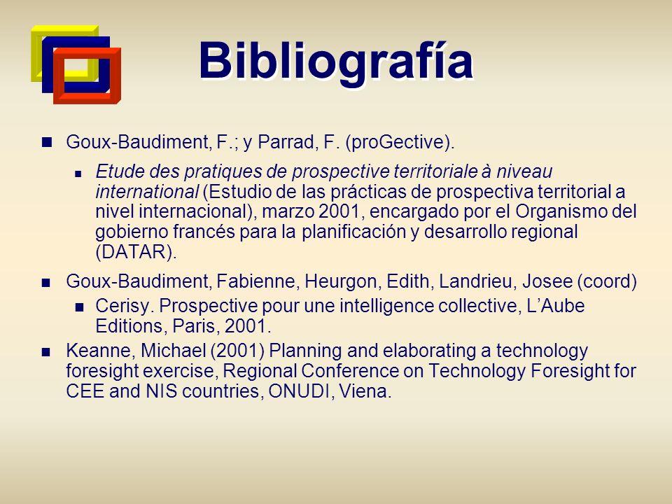 Bibliografía Goux-Baudiment, F.; y Parrad, F. (proGective). Etude des pratiques de prospective territoriale à niveau international (Estudio de las prá