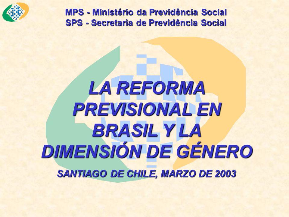 MPS - Ministério da Previdência Social SPS - Secretaria de Previdência Social LA REFORMA PREVISIONAL EN BRASIL Y LA DIMENSIÓN DE GÉNERO SANTIAGO DE CHILE, MARZO DE 2003