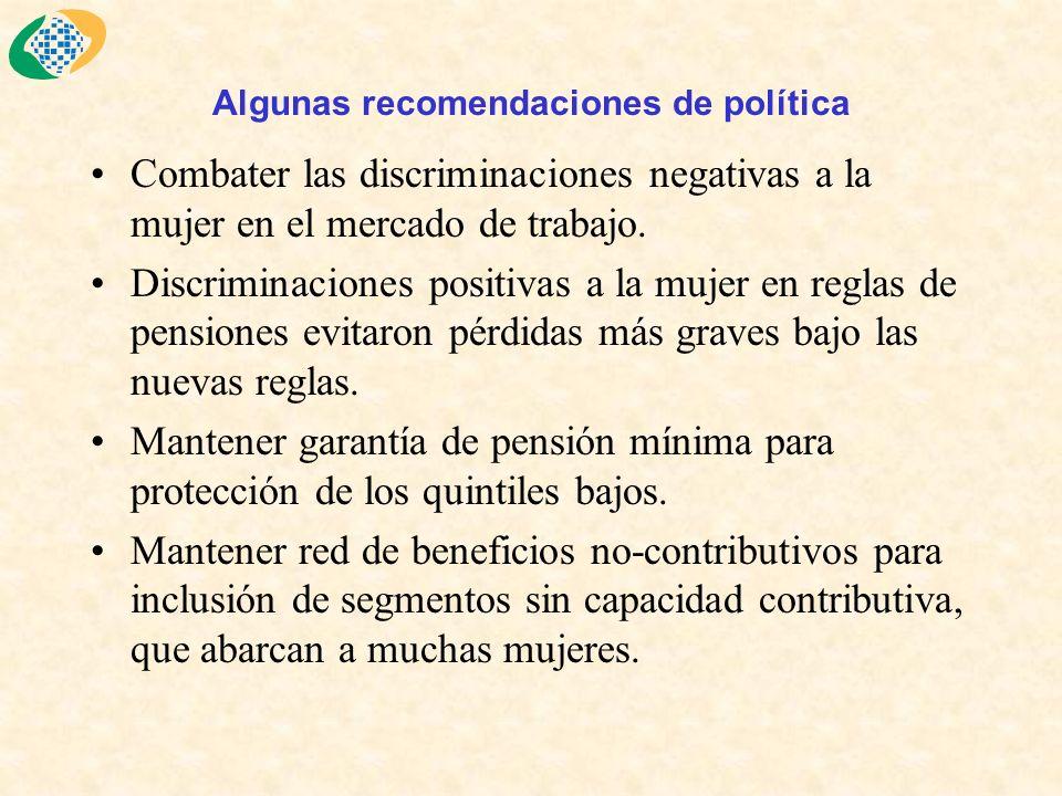 Algunas recomendaciones de política Combater las discriminaciones negativas a la mujer en el mercado de trabajo.