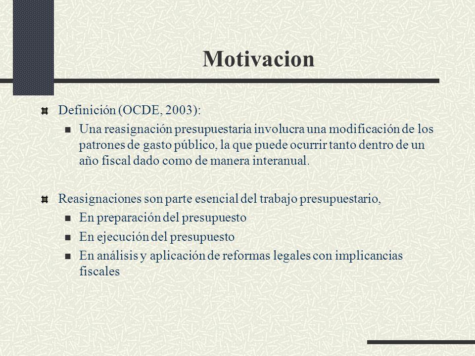 Motivacion Definición (OCDE, 2003): Una reasignación presupuestaria involucra una modificación de los patrones de gasto público, la que puede ocurrir tanto dentro de un año fiscal dado como de manera interanual.