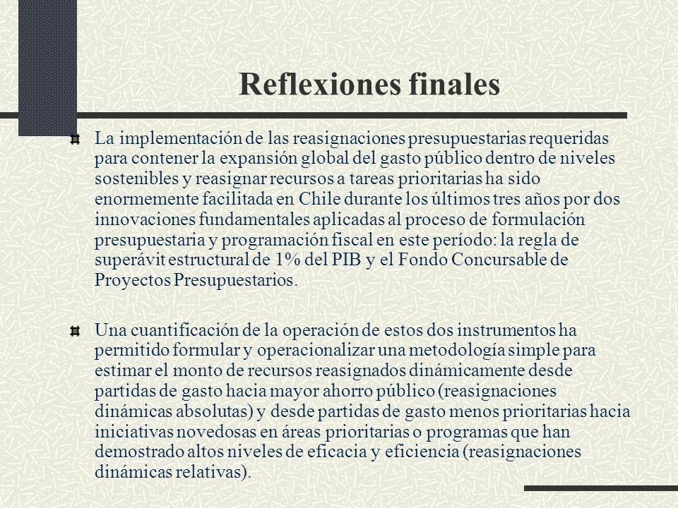 Reflexiones finales La implementación de las reasignaciones presupuestarias requeridas para contener la expansión global del gasto público dentro de niveles sostenibles y reasignar recursos a tareas prioritarias ha sido enormemente facilitada en Chile durante los últimos tres años por dos innovaciones fundamentales aplicadas al proceso de formulación presupuestaria y programación fiscal en este período: la regla de superávit estructural de 1% del PIB y el Fondo Concursable de Proyectos Presupuestarios.