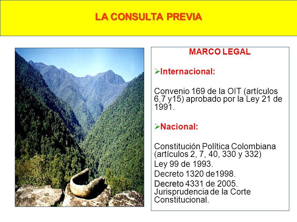 MARCO LEGAL Internacional: Convenio 169 de la OIT (artículos 6,7 y15) aprobado por la Ley 21 de 1991. Nacional: Constitución Política Colombiana (artí