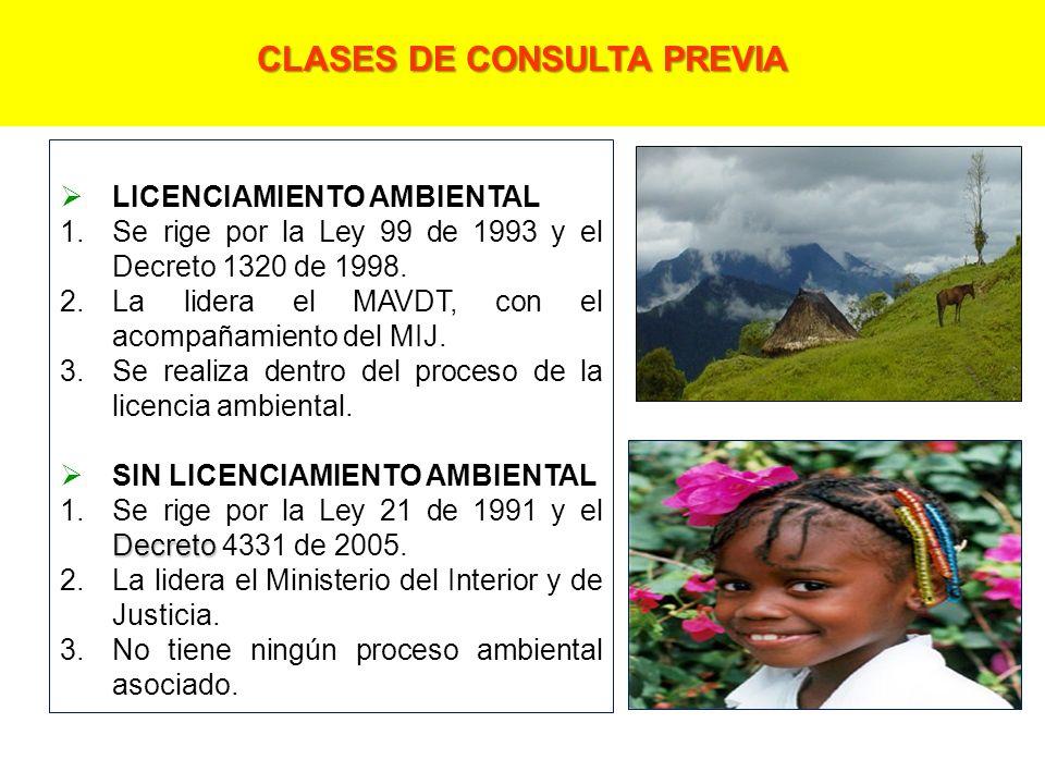 LICENCIAMIENTO AMBIENTAL 1.Se rige por la Ley 99 de 1993 y el Decreto 1320 de 1998.