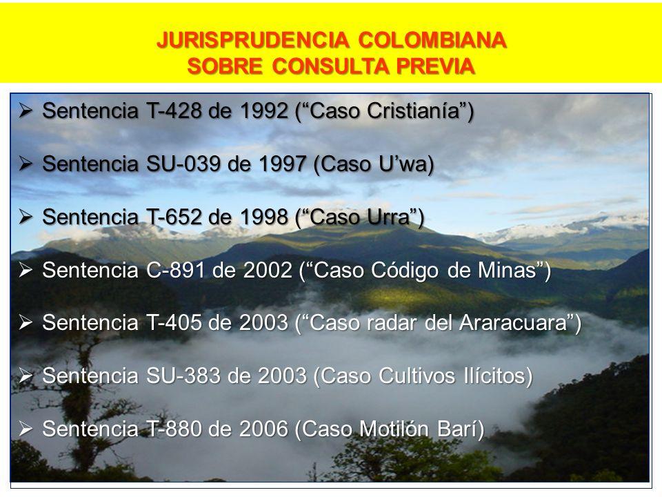Sentencia T-428 de 1992 (Caso Cristianía) Sentencia T-428 de 1992 (Caso Cristianía) Sentencia SU-039 de 1997 (Caso Uwa) Sentencia SU-039 de 1997 (Caso Uwa) Sentencia T-652 de 1998 (Caso Urra) Sentencia T-652 de 1998 (Caso Urra) Sentencia C-891 de 2002 (Caso Código de Minas) Sentencia C-891 de 2002 (Caso Código de Minas) Sentencia T-405 de 2003 (Caso radar del Araracuara) Sentencia T-405 de 2003 (Caso radar del Araracuara) Sentencia SU-383 de 2003 (Caso Cultivos Ilícitos) Sentencia SU-383 de 2003 (Caso Cultivos Ilícitos) Sentencia T-880 de 2006 (Caso Motilón Barí) Sentencia T-880 de 2006 (Caso Motilón Barí) JURISPRUDENCIA COLOMBIANA SOBRE CONSULTA PREVIA