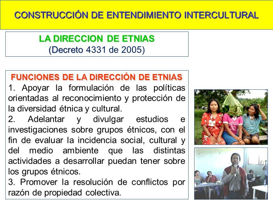 CONSTRUCCIÓN DE ENTENDIMIENTO INTERCULTURAL FUNCIONES DE LA DIRECCIÓN DE ETNIAS 1. Apoyar la formulación de las políticas orientadas al reconocimiento