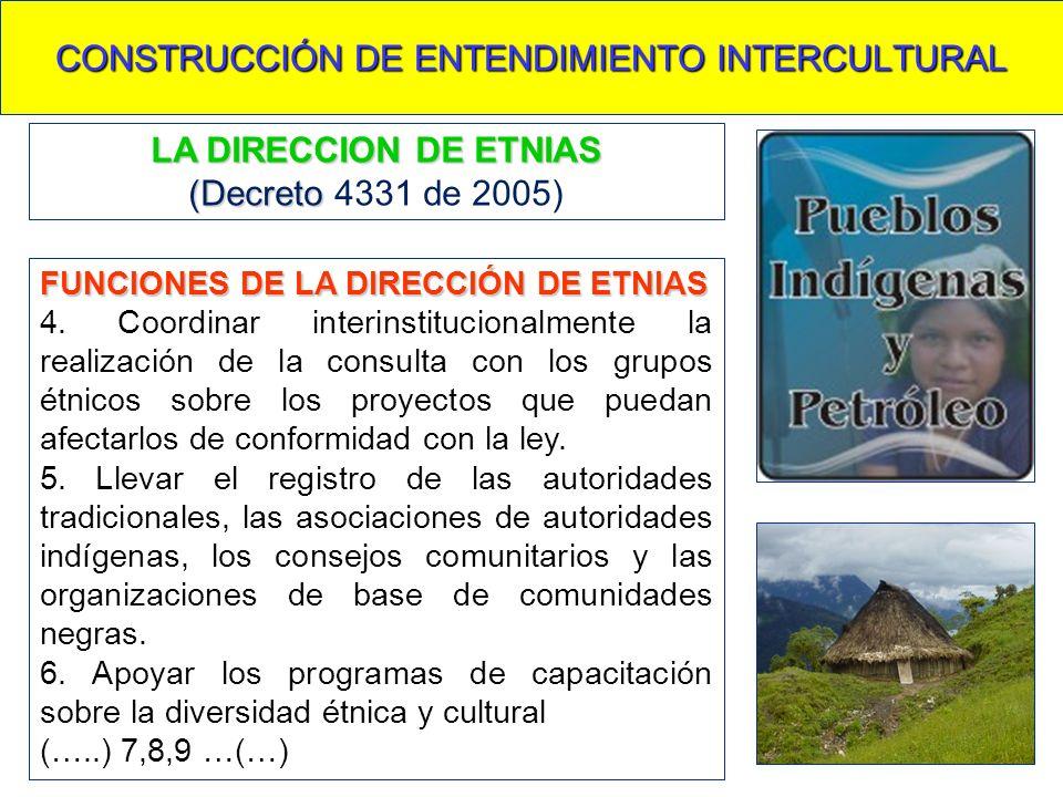 CONSTRUCCIÓN DE ENTENDIMIENTO INTERCULTURAL FUNCIONES DE LA DIRECCIÓN DE ETNIAS 4. Coordinar interinstitucionalmente la realización de la consulta con