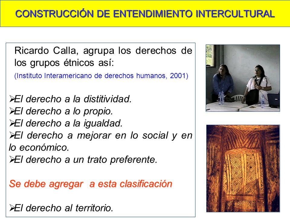 CONSTRUCCIÓN DE ENTENDIMIENTO INTERCULTURAL Ricardo Calla, agrupa los derechos de los grupos étnicos así: (Instituto Interamericano de derechos humanos, 2001) El derecho a la distitividad.