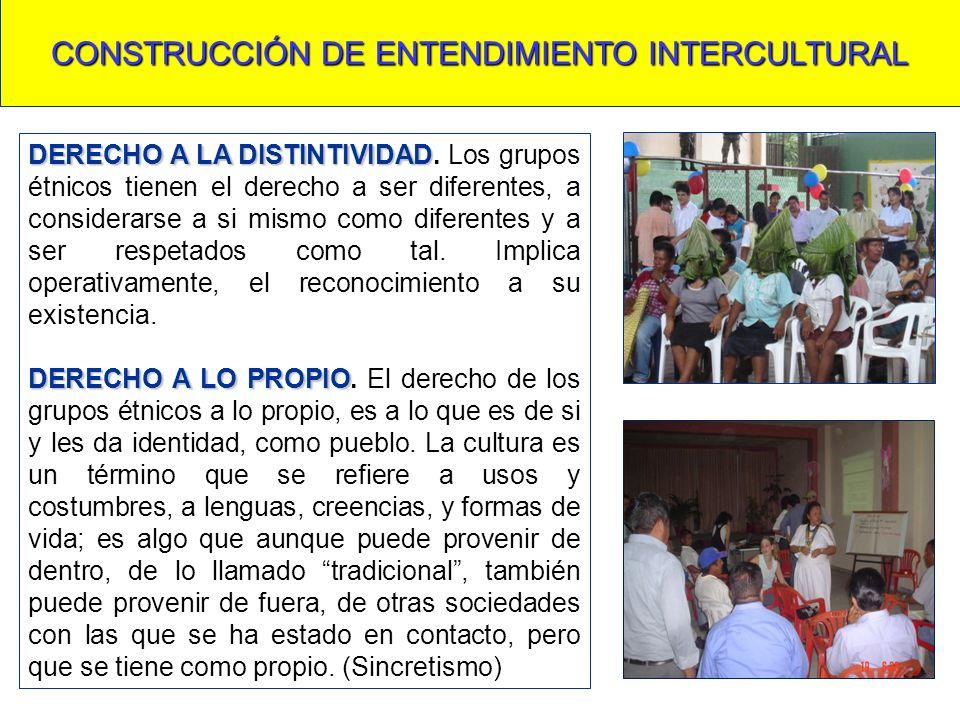 CONSTRUCCIÓN DE ENTENDIMIENTO INTERCULTURAL DERECHO A LA DISTINTIVIDAD DERECHO A LA DISTINTIVIDAD. Los grupos étnicos tienen el derecho a ser diferent