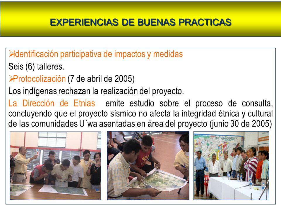Identificación participativa de impactos y medidas Seis (6) talleres. Protocolización (7 de abril de 2005) Los indígenas rechazan la realización del p
