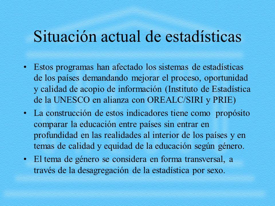 Situación actual de estadísticas Estos programas han afectado los sistemas de estadísticas de los países demandando mejorar el proceso, oportunidad y