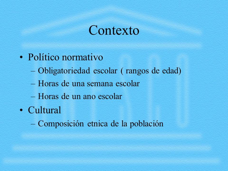 Contexto Político normativo –Obligatoriedad escolar ( rangos de edad) –Horas de una semana escolar –Horas de un ano escolar Cultural –Composición etni