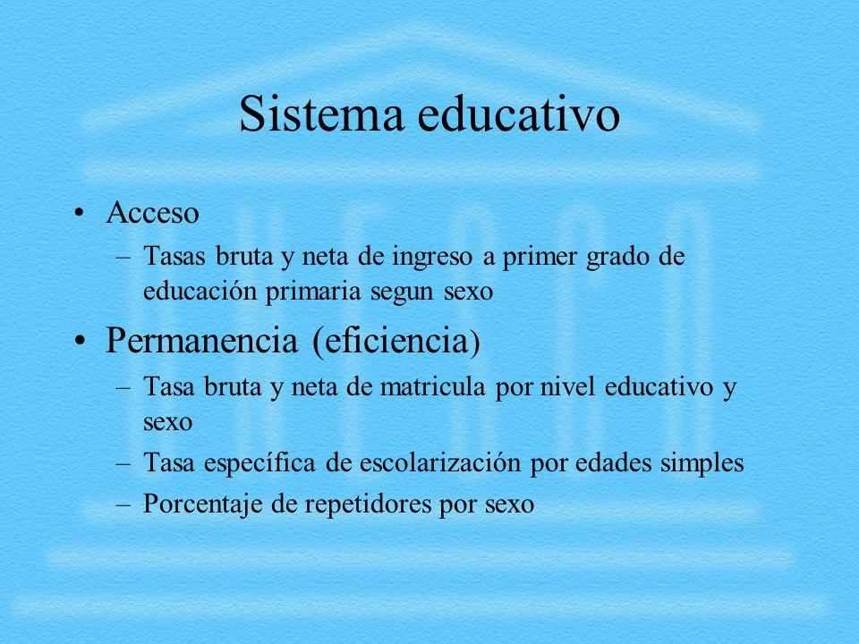 Sistema educativo Acceso –Tasas bruta y neta de ingreso a primer grado de educación primaria segun sexo Permanencia (eficiencia ) –Tasa bruta y neta d
